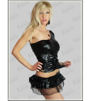 Lesklá PU mini sukně