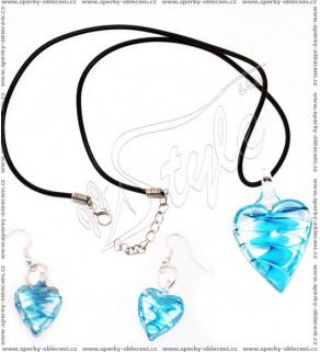 Souprava z ručně vinutých perlí Modrá