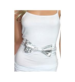 PU pásek na suchý zip stříbrný