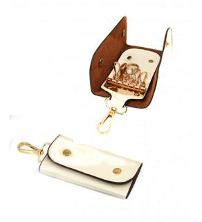 Kabelka s peněženkou a klíčenkou Krémová