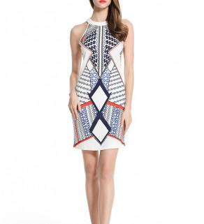 Dámské šaty se vzorem ModroBílé