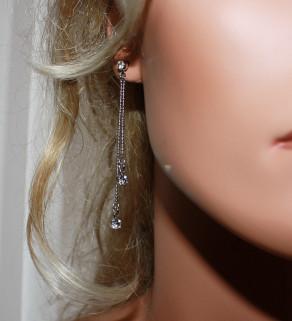 Řetízkové náušnice s krystaly 7,5cm