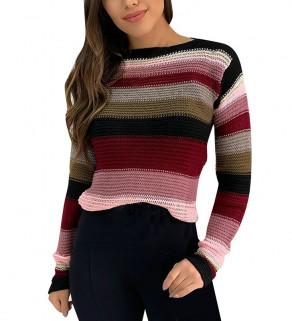 Pruhovaný dámský svetr