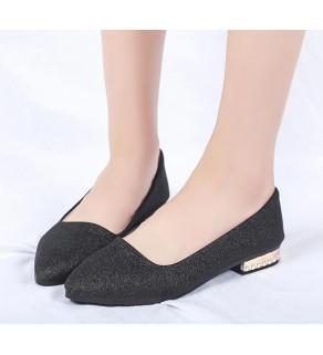 Dámské balerínové plátěné boty  s flitry