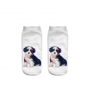 3D ponožky - psi bílá 18 - 20 cm