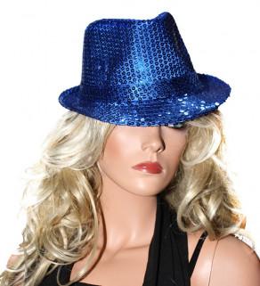 Flitrový klobouk Modrý