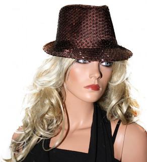 Flitrový klobouk Hnědý
